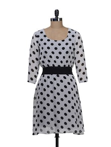 Polka Dots Dress With Elasticized Waist - Deal Jeans