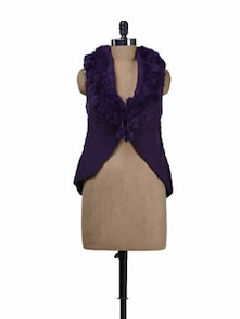 Sleeveless Wine Shrug With Fur - Deal Jeans