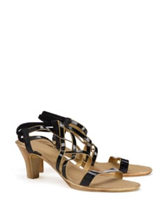 Black With Gold Trims Strappy Sandals - CATWALK