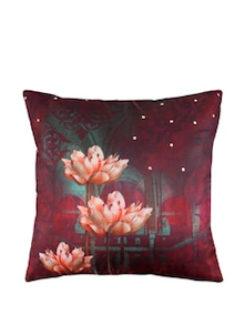 Blissful Lotus Poly Silk Cushion Cover - India Circus