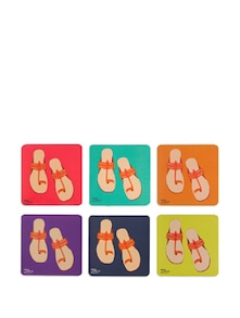 Pop-Slippers Rubber Coasters - (Set Of 6) - India Circus