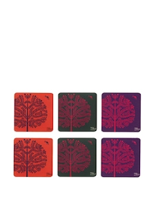 Purple Tree Warli Rubber Coasters - (Set Of 6) - India Circus