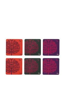 Purple Tree Warli Rubber Coasters - (Set Of 6) - India Circus