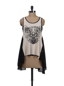Tiger Print Asymmetrical Hem Top - Deal Jeans