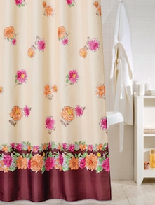 Floral Print Shower Curtain With Border - Freelance