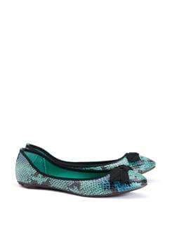 Textured Leather Ballet Flats - CATWALK