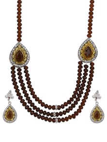 Gold & Brown 3 Strings Necklace Set - Luxor