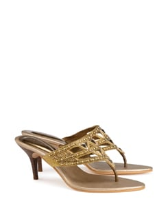 Gold Embellished Sandals With Stiletto Heel - CATWALK