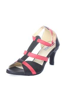 Black & Red Strappy Sandals - Bonjour