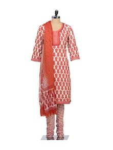 Leaf Print Churidar Suit Set - KILOL