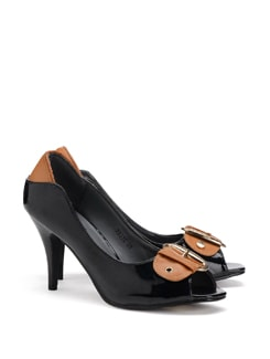 Big Buckle Peep Toe Heels - CATWALK