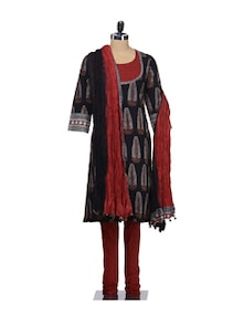 Feather Print Suit Set In Bold Black And Red - KILOL