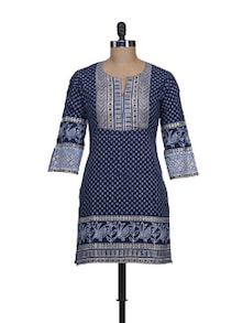 Cotton Navy Blue Printed Kurti - KILOL