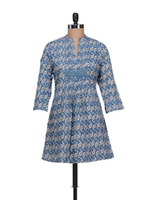 Teal Blue Kurti With Pleated Placket - KILOL
