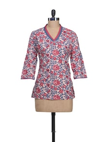 Rose Print Cotton Kurti - KILOL