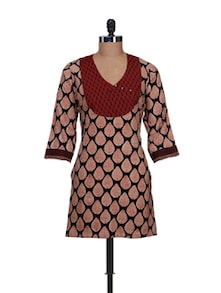 Leaf Print Kurti With Brick Red Yoke - KILOL