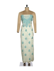 White-Turquoise Unstitched Floral Suit - Ada