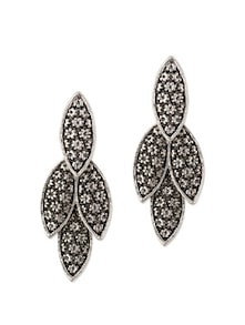 Oxidized Silver Leafy Earrings - YOUSHINE
