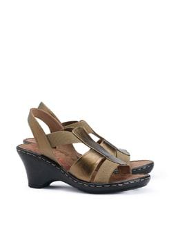 Chunky Bronze Sling Back Heels - CATWALK