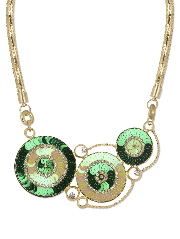 Green & Gold Disc Pendant Necklace - YOUSHINE