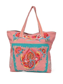 Hand Embroidered Peach Handbag - Lyla