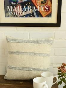 Grey Striped Organic Cotton Cushion Cover - Taanbaan