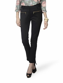 Black Front Zipped Party Trousers - MARTINI