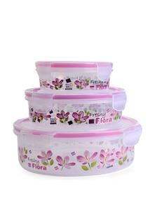 Lock&Seal Round Jar (Pink)- Set Of 3 - SKI Homeware