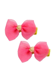 Pink And Yellow Bow Shaped Hair Clips - K22