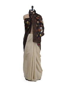 Beige Chanderi With Polka Dotted Pallu - URBAN PARI