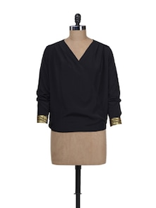 Black & Gold Wrapped Front Top - Femella