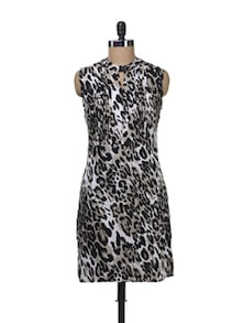 Black Animal Print Dress - Femella