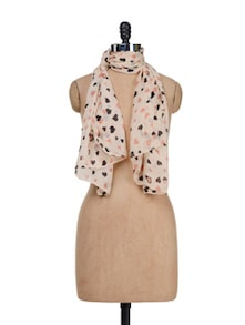 Beige Heart To Heart Printed Scarf - Miss Chase