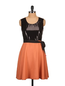 Orange&Black Sequins Dress - Tops And Tunics
