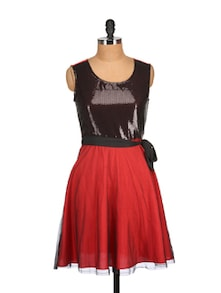 Red&Black Sequins Dress - Tops And Tunics