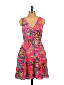 Printed Sleeveless Dress-Pink - Tops and Tunics