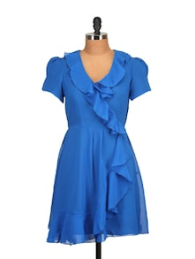 Royal Blue Ruffled Dress - Tops And Tunics