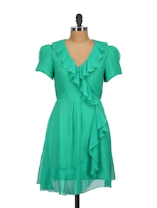 Green Ruffled Dress - Tops And Tunics