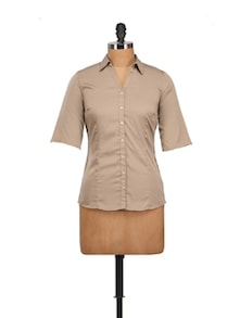 Classic Light Brown Shirt - Tops And Tunics