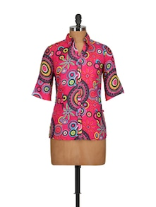 Multi Print Pink Shirt - Tops And Tunics