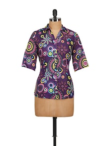 Multi Print Purple Shirt - Tops And Tunics