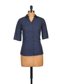 Classic Navy Blue Shirt - Tops And Tunics