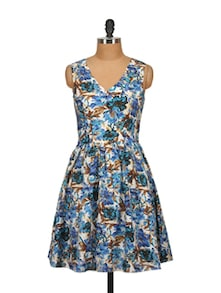 Blue Floral Bloom Sleeveless Dress - Tops And Tunics