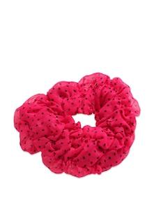 Hot Pink And Black Polka Dot Rubber Band - K22