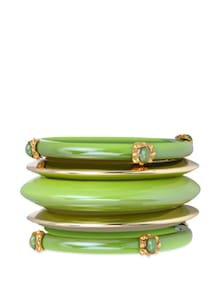 Set Of Bangles In Green And Silver - CIRCUZZ