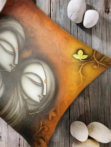 Digital Print 'Faces-I' Cushion Cover- Set Of 2 - Belkado