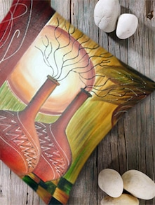 Digital Print 'Sunset Painting' Cushion Cover-Set Of 2 - Belkado