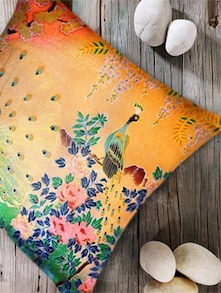 Ethnic Peacock Print Digital Cushion Cover- Set Of 2 - Belkado
