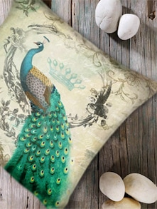 Modern Peacock Print Digital Cushion Cover-Set Of 2 - Belkado