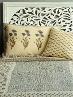 Floral Motif Jaipuri Quilt In Shades Of Brown, Olive And Cream - Cotton Curio